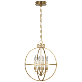 "Lexie 18"" Globe Lantern in Antique-Burnished Brass"