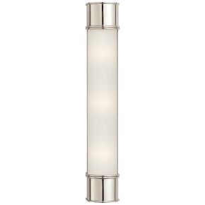 """Oxford 24"""" Bath Sconce in Polished Nickel with Frosted Glass"""