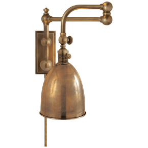 Pimlico Double Swing Arm in Antique-Burnished Brass with Antique-Burnished Brass Shade