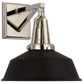 "Layton 10"" Sconce in Polished Nickel with Matte Black Shade"