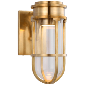 Gracie Tall Bracketed Sconce in Antique-Burnished Brass with Clear Glass