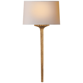 Strie Wall Sconce in Gilded Iron with Natural Paper Shade