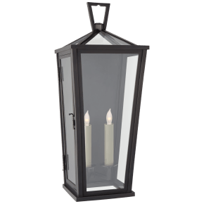 Darlana Medium Tall 3/4 Wall Lantern in Bronze with Clear Glass
