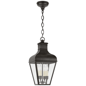 Fremont Medium Hanging Lantern in French Rust with Clear Glass