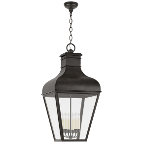 Fremont Grande Hanging Lantern in French Rust with Clear Glass