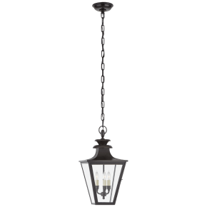 Albermarle Small Hanging Lantern in Blackened Copper with Clear Glass