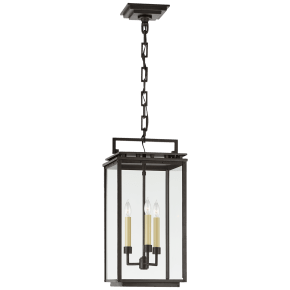 Cheshire Medium Hanging Lantern in Aged Iron with Clear Glass