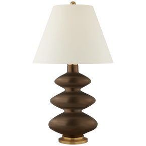 Smith Large Table Lamp in Matte Bronze with Natural Percale Shade