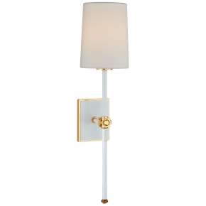 Lucia Medium Tail Sconce in Matte White and Crystal with Linen Shade