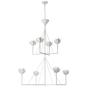 Alberto Large Two Tier Chandelier in Plaster White