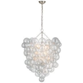 Talia Grande Entry Chandelier in Burnished Silver Leaf with Clear Swirled Glass