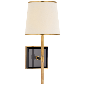 Bradford Medium Sconce in Soft Brass and Black with Cream Linen Shade with Soft Brass Trim