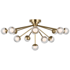 """Alloway 30"""" Flush Mount in Soft Brass with Clear Glass"""