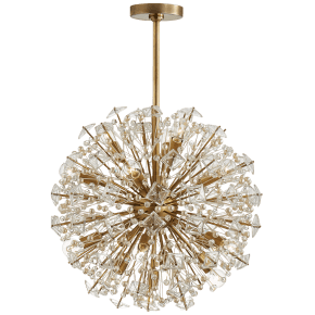 Dickinson Medium Chandelier in Soft Brass with Clear Glass and Cream Pearls