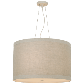 Walker Medium Hanging Shade in Light Cream with Natural Linen Shade