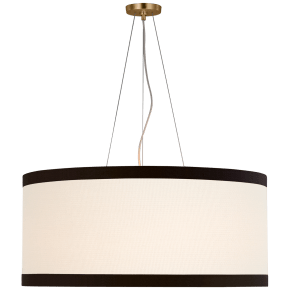 Walker Large Hanging Shade in Gild with Linen Shade with Black Linen Trim