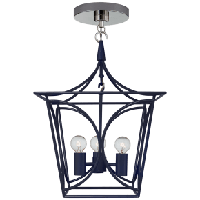 Cavanagh Mini Lantern in French Navy and Polished Nickel