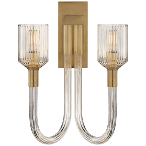 Reverie Double Sconce in Clear Ribbed Glass and Antique-Burnished Brass