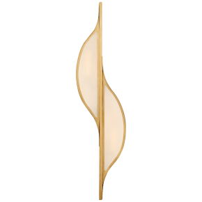 Avant Large Curved Sconce in Antique-Burnished Brass with Frosted Glass