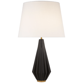 Cachet Table Lamp in Aged Iron with Linen Shade