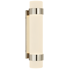Barton Small Bath Sconce in Polished Nickel with Etched Crystal