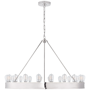 "Roark 40"" Modular Ring Chandelier in Polished Nickel"