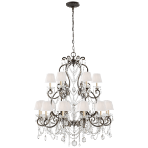 Adrianna Medium Chandelier in Antique Gild with Antiqued Crystals and Silk Shades