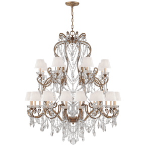 Adrianna Large Chandelier in Gilded Iron and Crystal with Silk Shades
