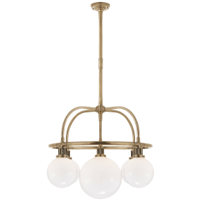 McCarren Single Tier Chandelier in Natural Brass with White Glass