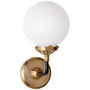Bistro Single Light Sconce in Hand-Rubbed Antique Brass and Black with White Glass