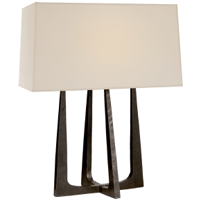 Scala Hand-Forged Bedside Lamp in Aged Iron with Natural Percale Shade