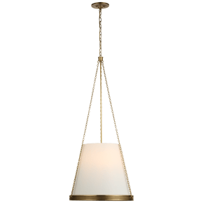"""Reese 18"""" Pendant in Soft Brass with Linen Shade"""