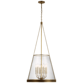 "Reese 22"" Pendant in Soft Brass with Clear Glass"
