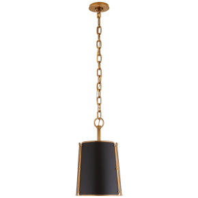 Hastings Small Pendant in Hand-Rubbed Antique Brass with Black Shade
