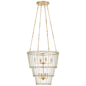 Cadence Medium Waterfall Chandelier in Hand-Rubbed Antique Brass with Antique Mirror