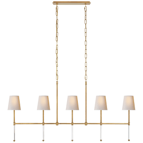 Camille Medium Linear Chandelier in Hand-Rubbed Antique Brass with Natural Paper Shades