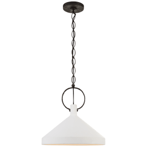 Limoges Large Pendant in Natural Rust with Plaster White Shade