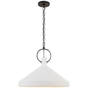 Limoges Grande Pendant in Natural Rust with Plaster White Shade