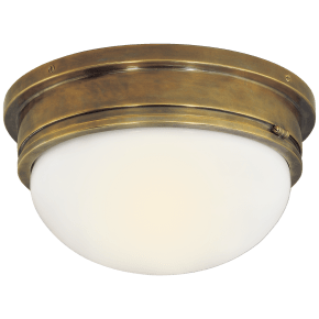 Marine Large Flush Mount in Hand-Rubbed Antique Brass with White Glass