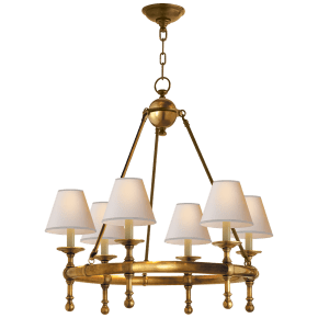 Classic Mini Ring Chandelier in Hand-Rubbed Antique Brass with Natural Paper Shades