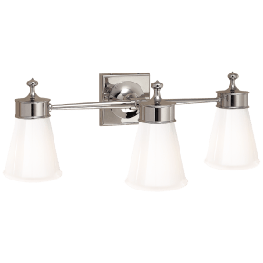 Siena Triple Sconce in Polished Nickel with White Glass