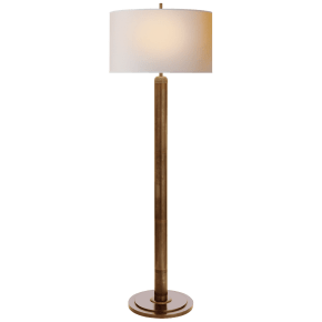 Longacre Floor Lamp in Hand-Rubbed Antique Brass with Natural Paper Shade