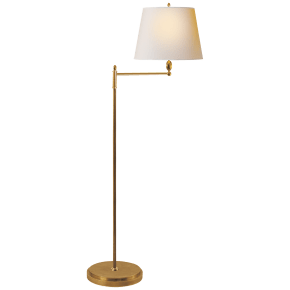 Paulo Floor Light in Hand-Rubbed Antique Brass with Natural Paper Shade