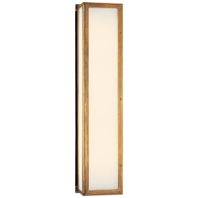 Mercer Long Box Light in Hand-Rubbed Antique Brass with White Glass