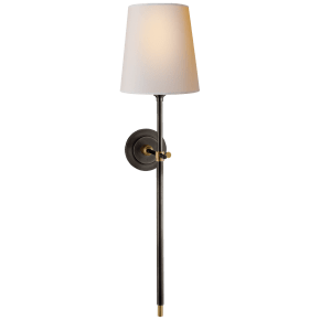 Bryant Large Tail Sconce in Bronze and Hand-Rubbed Antique Brass with Natural Paper Shade