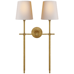 Bryant Large Double Tail Sconce in Hand-Rubbed Antique Brass with Natural Paper Shades