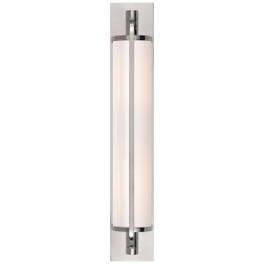 Keeley Tall Pivoting Sconce in Polished Nickel with White Glass