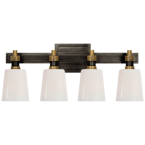 Bryant Four-Light Bath Sconce in Bronze and Hand-Rubbed Antique Brass with White Glass