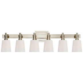 Bryant Six-Light Linear Bath Sconce in Polished Nickel with White Glass