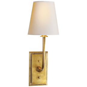 Hulton Sconce in Hand-Rubbed Antique Brass with Crystal Backplate and Natural Paper Shade